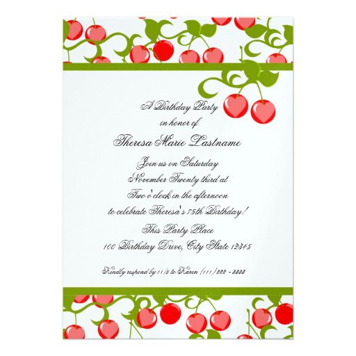 Cheery Cherries Birthday Invite