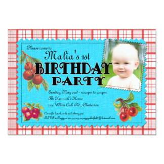 Cheery Cherry Birthday Party Photo Invitation