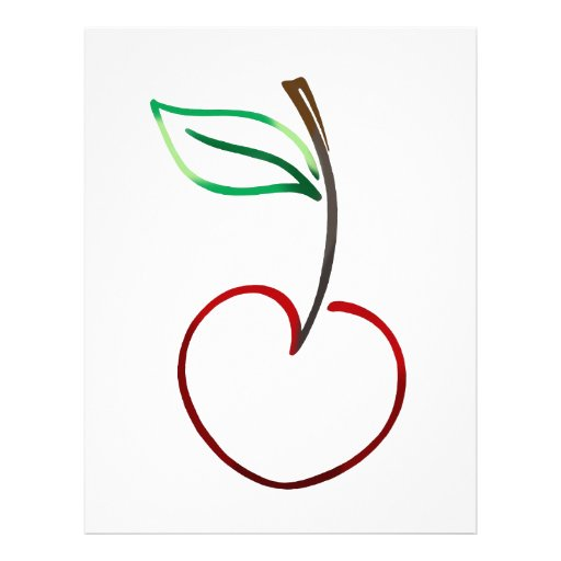 Cheery Cherry Outline on White Letterhead Design | Zazzle