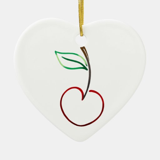 Cheery Cherry Outline on White Double-Sided Heart Ceramic Christmas Ornament