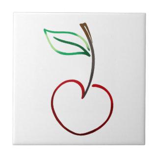 Cheery Cherry Outline on White Ceramic Tiles