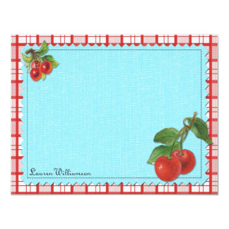 Cheery Cherry Personalized Flat Note Cards