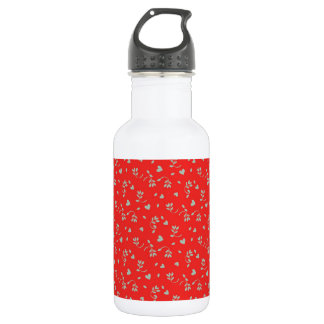 Cheery Cherry Red Ditsy Print Stainless Steel Water Bottle