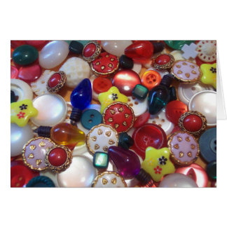 Cheery Christmas Button Collage Greeting Cards