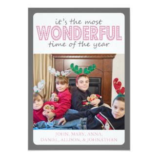 Cheery Christmas Card (Gray / Pink)
