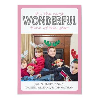 Cheery Christmas Card (Pink / Gray)