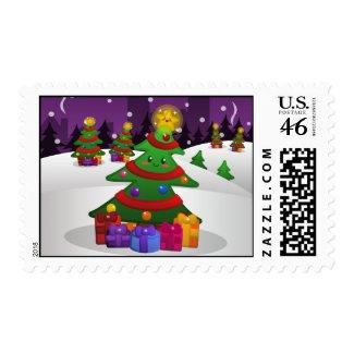 Cheery Christmas Tree Postage stamp