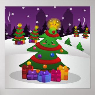 Cheery Christmas Tree Poster