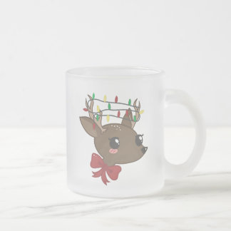 Cheery Deer Frosted Glass Coffee Mug
