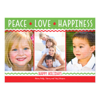 Cheery Holiday Red Green Photo Collage Card