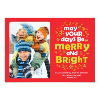 "Cheery Merry & Bright Christmas Photo Card 5"" X 7"" Invitation Card"