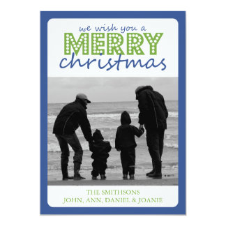 Cheery Merry Christmas Card (Blue / Pale Green)