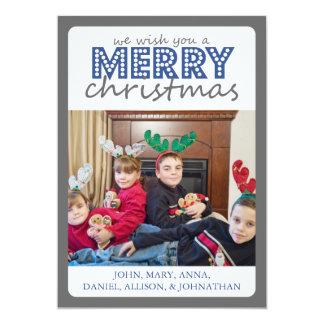 Cheery Merry Christmas Card (Gray / Blue)