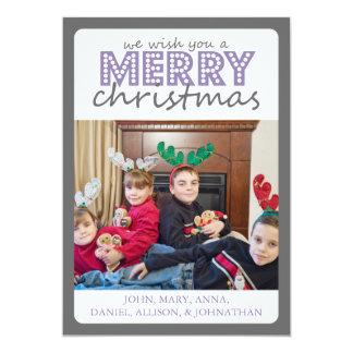 Cheery Merry Christmas Card (Gray / Purple)