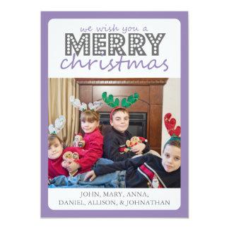 Cheery Merry Christmas Card (Purple / Gray)