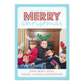 Cheery Merry Christmas Card (Teal / Burgandy)
