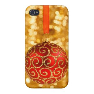 Cheery Merry Christmas Red /Gold Glittery Ornament iPhone 4 Case