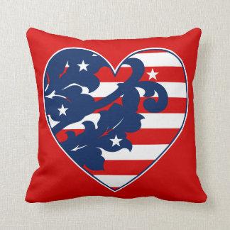 Cheery patriotic heart throw pillow