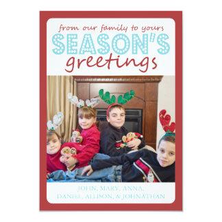 Cheery Season's Greetings Card (Burgandy / Teal)