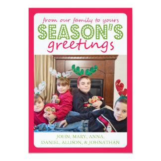 Cheery Season's Greetings Card (Pale Red / Green)