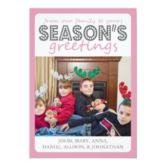 Cheery Season's Greetings Card (Pink / Gray)