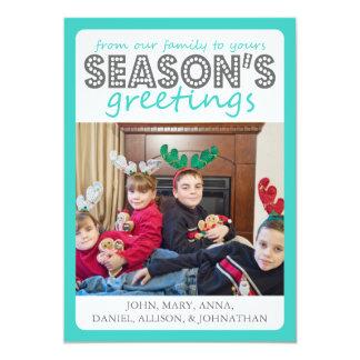 Cheery Season's Greetings Card (Teal / Gray)