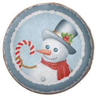 Cheery snowman chocolate-dipped Oreo cookies