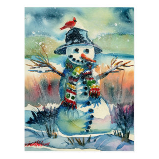 Cheery Snowman postcard