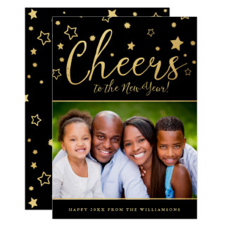 Cheery Stars Photo New Year's Card