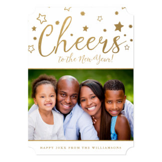 Cheery Stars Photo New Year's Card / White