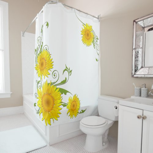 Cheery Sunflowers Shower Curtain