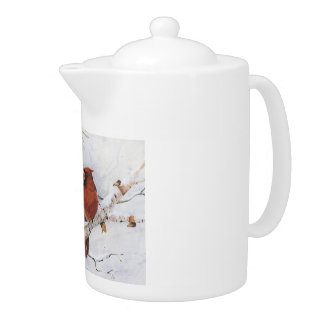 Cheery Teapot winter Cardinal scene