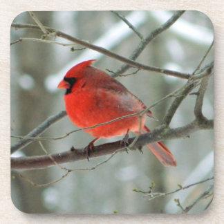 Cheery Winter Cardinal Cork Coaster