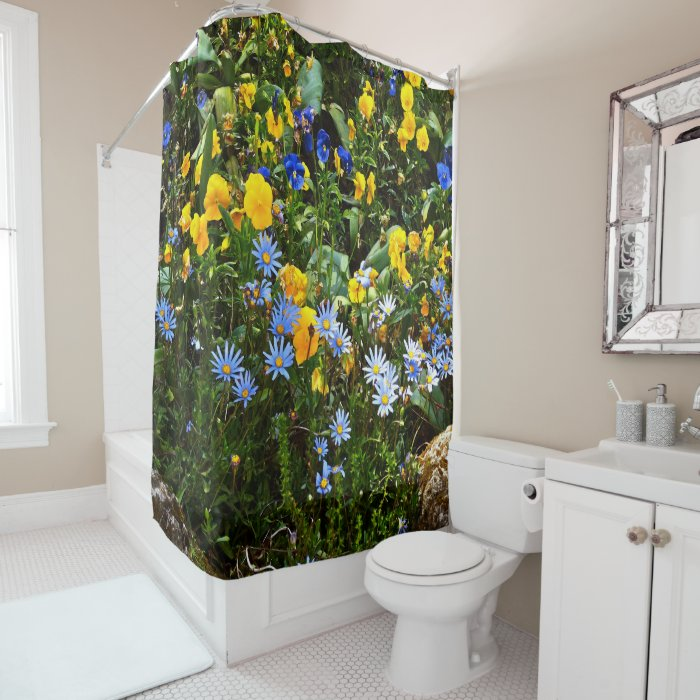 Cheery Yellow And Blue Floral Shower Curtain Zazzle
