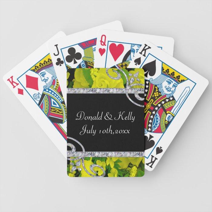 Cheery Yellow Roses & Diamond Swirls Wedding Bicycle Playing Cards
