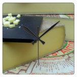 Cheese and cheese board square wallclock