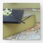 Cheese and cheese board square wallclock