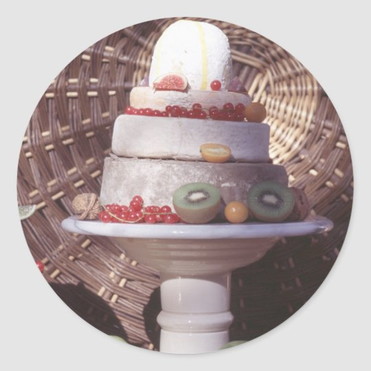 Cheese and fruit classic round sticker