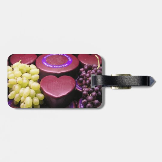 Cheese and grapes luggage tag