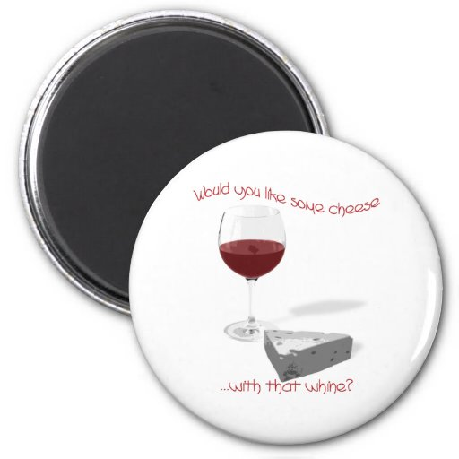 cheese and wine 2 inch round magnet