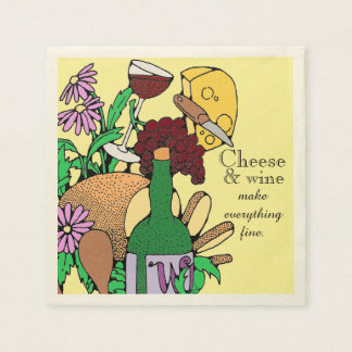 Cheese and Wine Lunch Paper Napkin