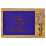 [Crown] keep calm and eat ice-cream  Cheese Board Rectangular Cheese Board