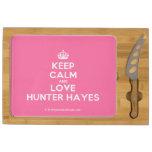 [Crown] keep calm and love hunter hayes  Cheese Board Rectangular Cheese Board
