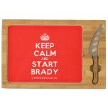 [Crown] keep calm and start brady  Cheese Board Rectangular Cheese Board
