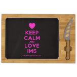 [Love heart] keep calm and love im5  Cheese Board Rectangular Cheese Board