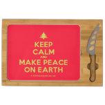 [Xmas tree] keep calm and make peace on earth  Cheese Board Rectangular Cheese Board