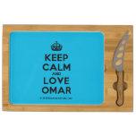 [Crown] keep calm and love omar  Cheese Board Rectangular Cheese Board