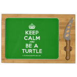 [Crown] keep calm and be a turtle  Cheese Board Rectangular Cheese Board