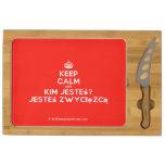 [Crown] keep calm and kim jesteś? jesteś zwycięzcą  Cheese Board Rectangular Cheese Board