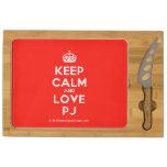 [Crown] keep calm and love pj  Cheese Board Rectangular Cheese Board